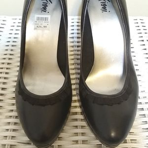 Fioni Black Heels With Ribbon Detail
